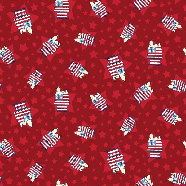 Snoopy House Toss Patriotic Fabric to sew - QuiltGirls®