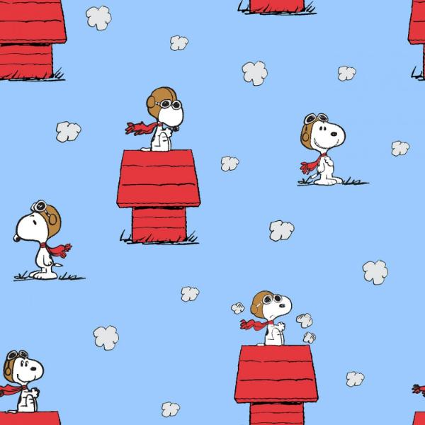 "(Remnant 18"") Snoopy Red Baron Toss Fabric to sew - QuiltGirls®"