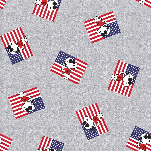 "(Remnant 18"") Snoopy as Joe Cool Patriotic Fabric to sew"