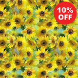 YELL Sunflower Stampede Flowers Fabric to sew - QuiltGirls®