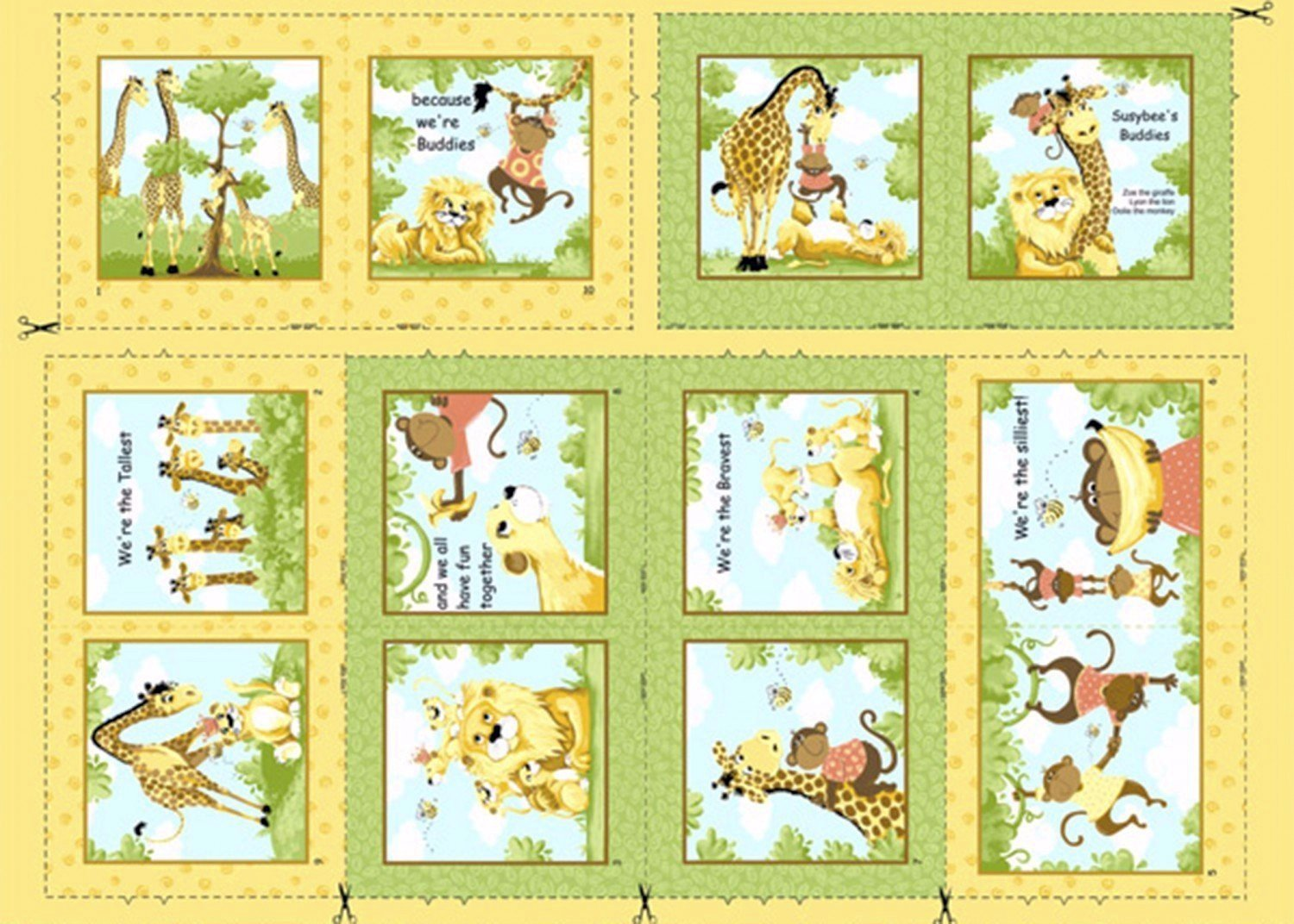 Susybee S Buddies Fabric Book Panel To Sew Quilt Girls