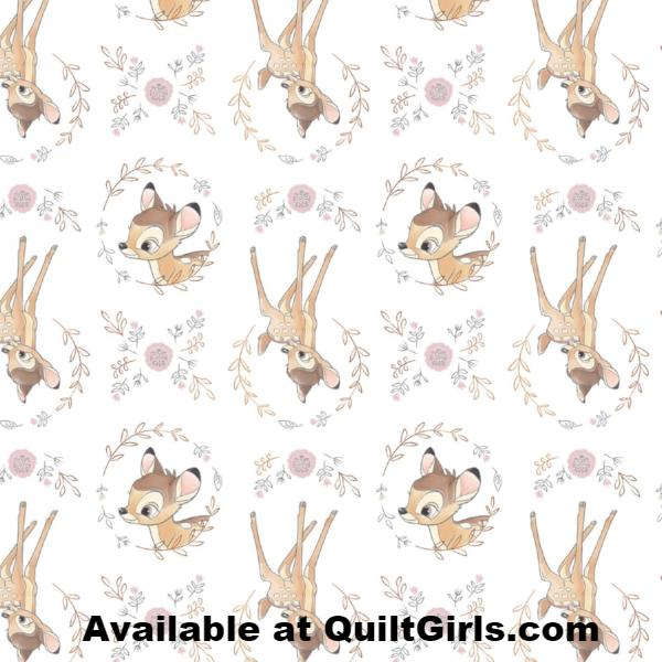 Sweet Bambi on White with Metallic Copper Fabric to sew - QuiltGirls®