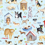 Think Pawsitive Dogs Rule on Blue Fabric to sew - QuiltGirls®