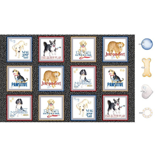 Think Pawsitive Doggie Blocks Panel to sew - QuiltGirls®