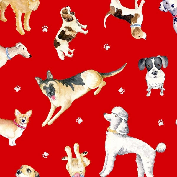 Think Pawsitive Dog Toss on Red Fabric to sew - QuiltGirls®