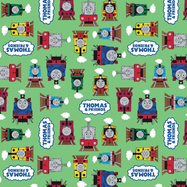 Thomas and Friends All Aboard Green Fabric to Sew - QuiltGirls®