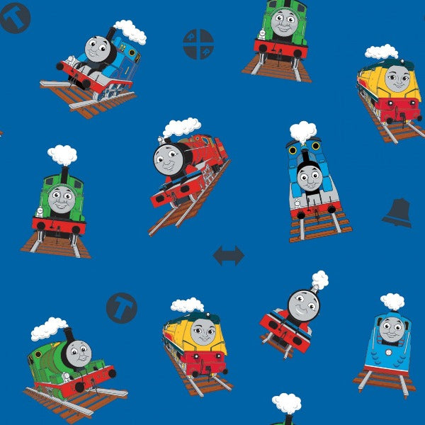 Thomas and Friends Toss on Blue Fabric to Sew - QuiltGirls®