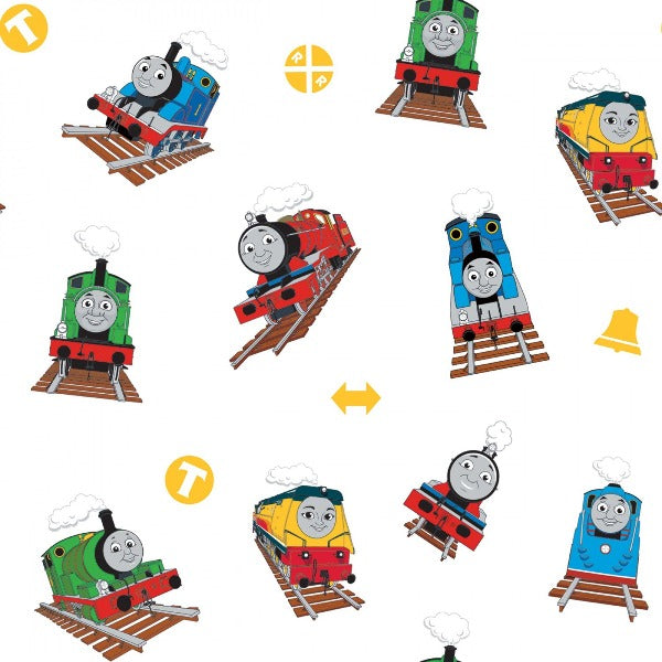 Thomas and Friends Toss on White Fabric to Sew - QuiltGirls®