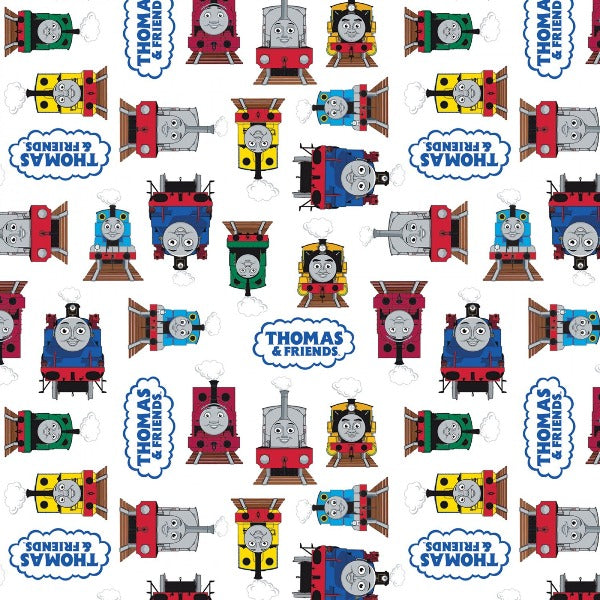 Thomas and Friends All Aboard White Fabric to Sew - QuiltGirls®