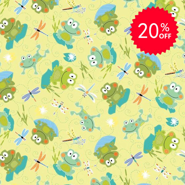 Toadally Cute Lime Hop Along Fabric to sew