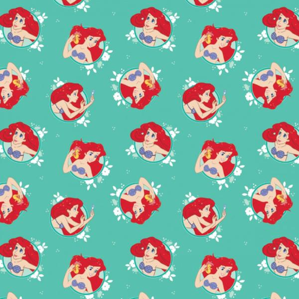 Disney Ariel in Circles on Turquoise Fabric to Sew - QuiltGirls®