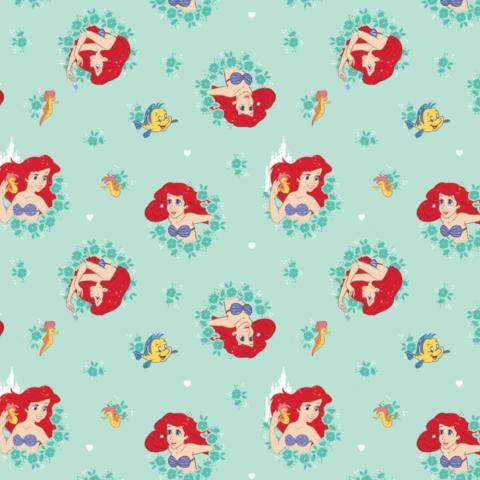 Disney Ariel in Wreaths on Turquoise Fabric to Sew