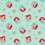Disney Ariel in Wreaths on Turquoise Fabric to Sew - QuiltGirls®