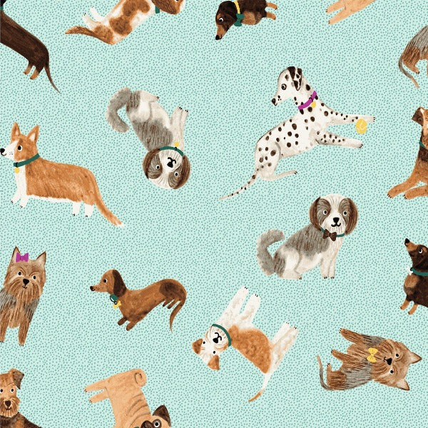 Uptown Dogs on Aqua Fabric to sew - QuiltGirls®