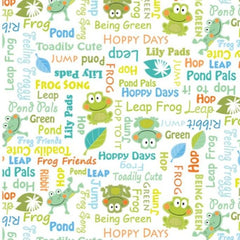 "(Remnant 18"") Toadally Cute Words on White Fabric to sew - QuiltGirls®"