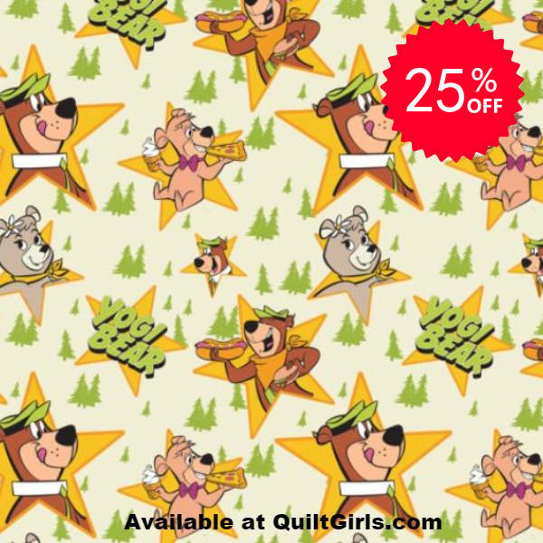 Yogi Bear Stars on Cream Fabric to sew