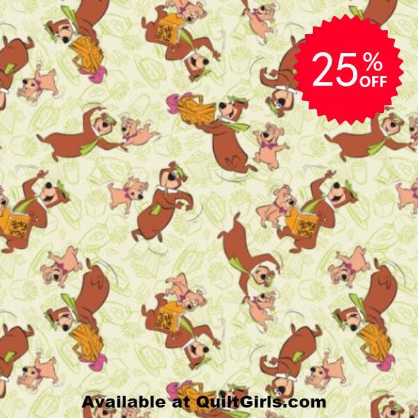 Yogi Bear and Boo Boo Bear Toss Fabric to sew