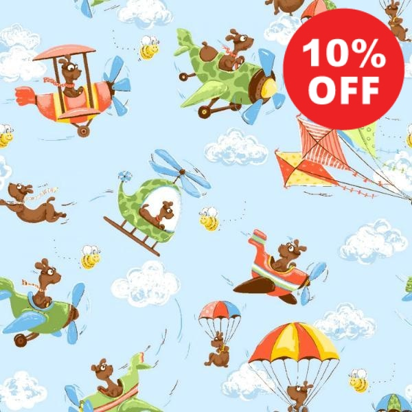 Susybee's Zig the Flying Ace Scenic Allover Fabric to sew