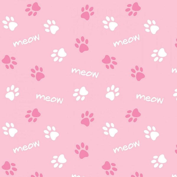 "(Remnant 18"") Pink Paws and Meows Fabric to sew"