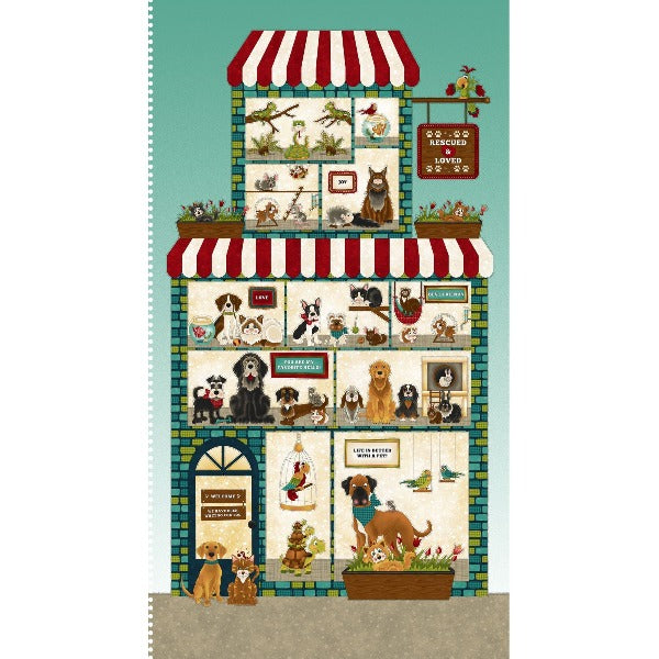 Dog and Cat Quilt Panel Henry Glass Leanne Anderson No Foul Play Quilt Panel