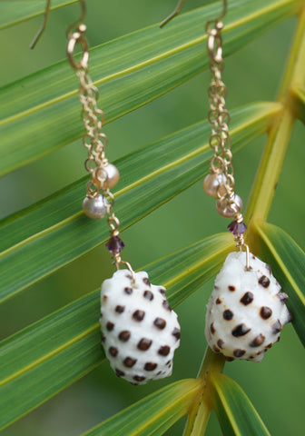 14kt Gold Filled Drupa Shell with Fresh Water Pearl and Swarovski Crystal Earrings.