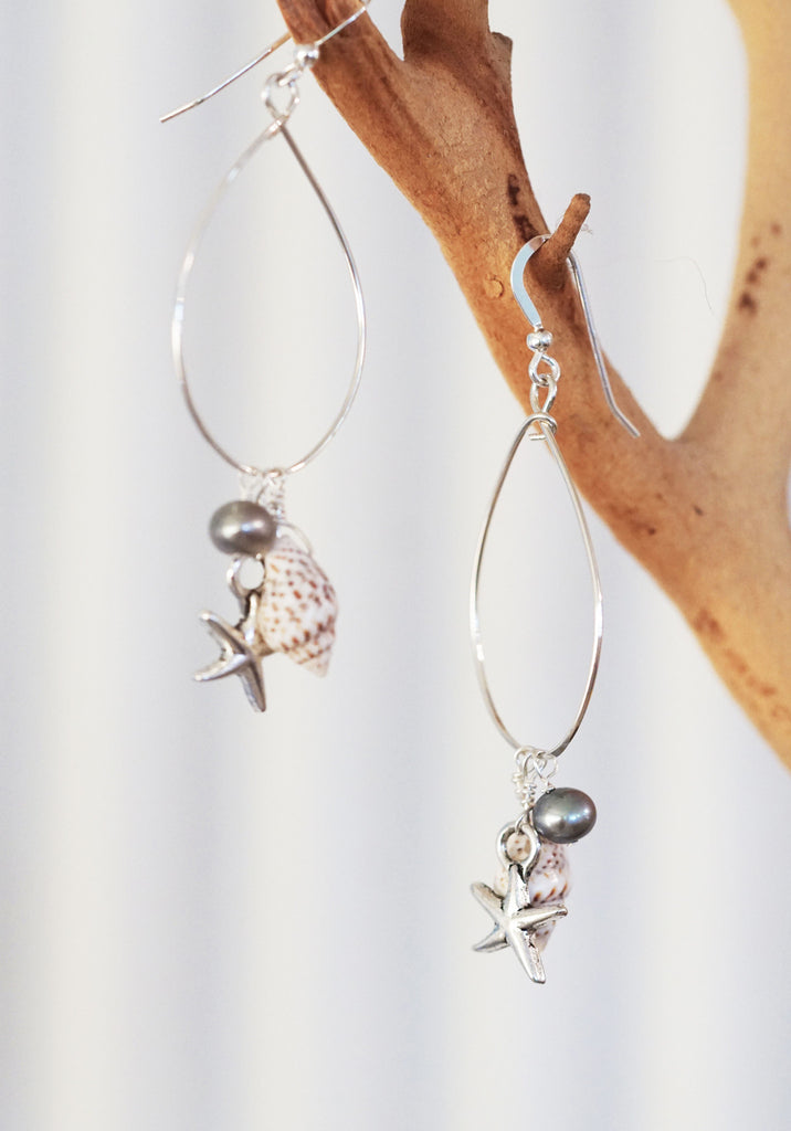 Keala Sterling Silver Earrings with Fresh Water Pearls and Sterling Silver Starfish Drops.