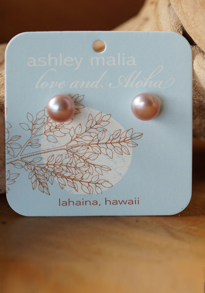 Hawaiian Fresh Water Pearl Stud Earrings