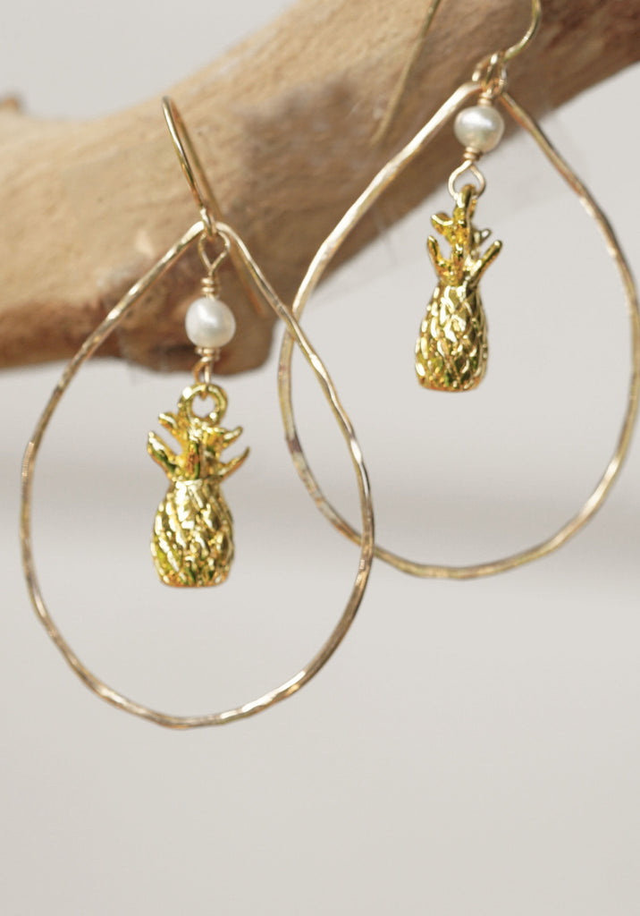 14kt Gold Filled Teardrop Hammered Hoop with Pineapple Drop and Fresh Water Pearl Earrings.