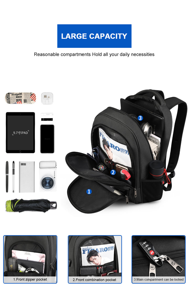 Large Capacity Anti-Theft Waterproof Backpack with Charging Port