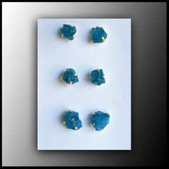 Raw Stone Earrings - Blue Apatite