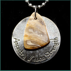 ESC104pw Escape Petrified Wood Medallion Necklace
