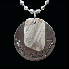 ESC106pw Escape Petrified Wood Medallion Necklace