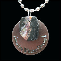 ESC107pw Escape Petrified Wood Medallion Necklace