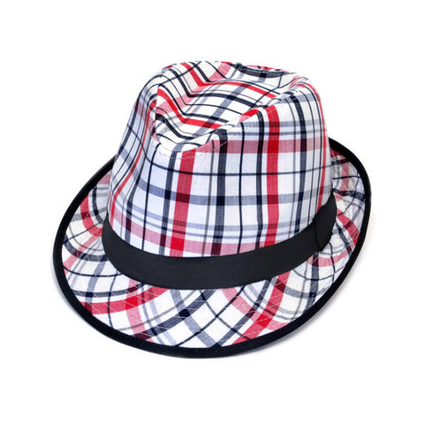 Checked hat