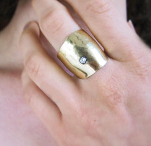 Gold Hammered Ring - Dennis Higgins Jewelry