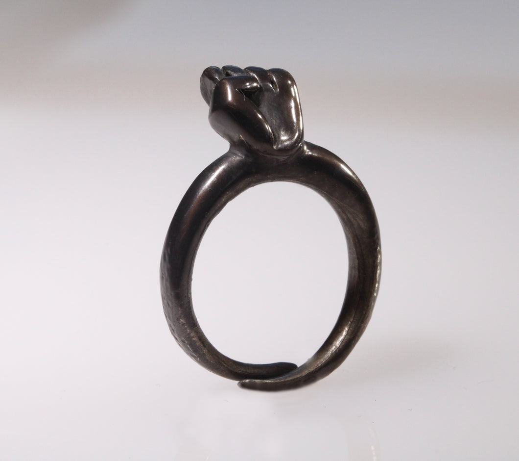 Dark Bronze Fist Ring - Dennis Higgins Jewelry