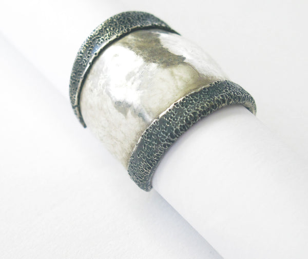 Turned edge sterling silver ring - Dennis Higgins Jewelry