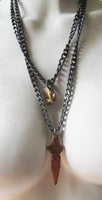 Bronze and stainless nugget and dagger chain - Dennis Higgins Jewelry