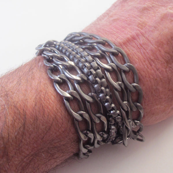 Stainless bracelet combination Triple wrap plus 3 chain bracelet