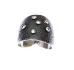 Blackened textured silver and sapphire ring - Dennis Higgins Jewelry