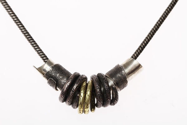 Hand made beads on silver snake chain - Dennis Higgins Jewelry