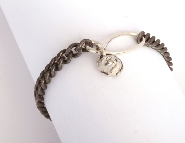 Single wrap bracelet with sterling nugget and clasp