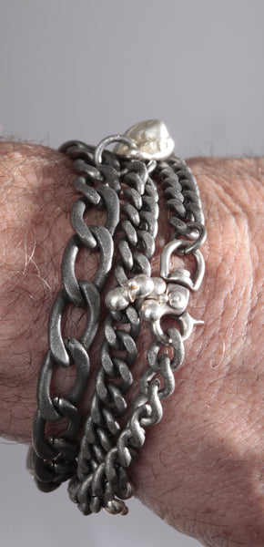 6 and 9 mm stainless curb chains with three nuggets and silver swivel clasp - Dennis Higgins Jewelry