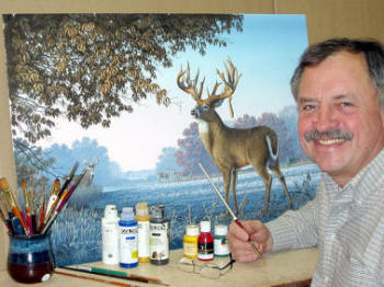 Larry painting Big Country Bucks