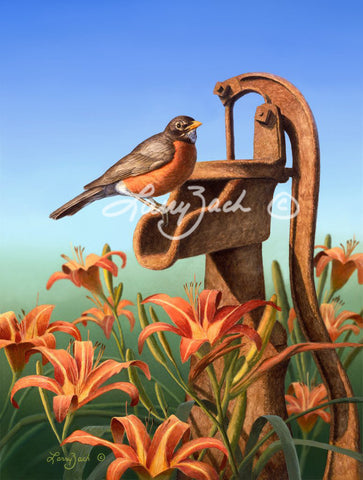 American Robin and Daylilies