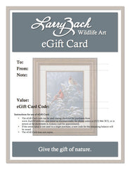 eGift Card featuring Winter Cardinals on Goldenrod (sent by email as PDF file)