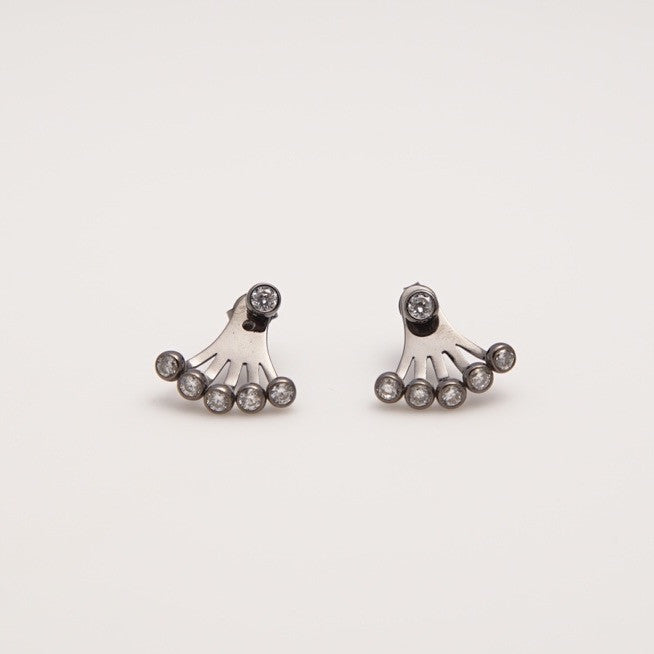 Glitzy Gunmetal Earrings