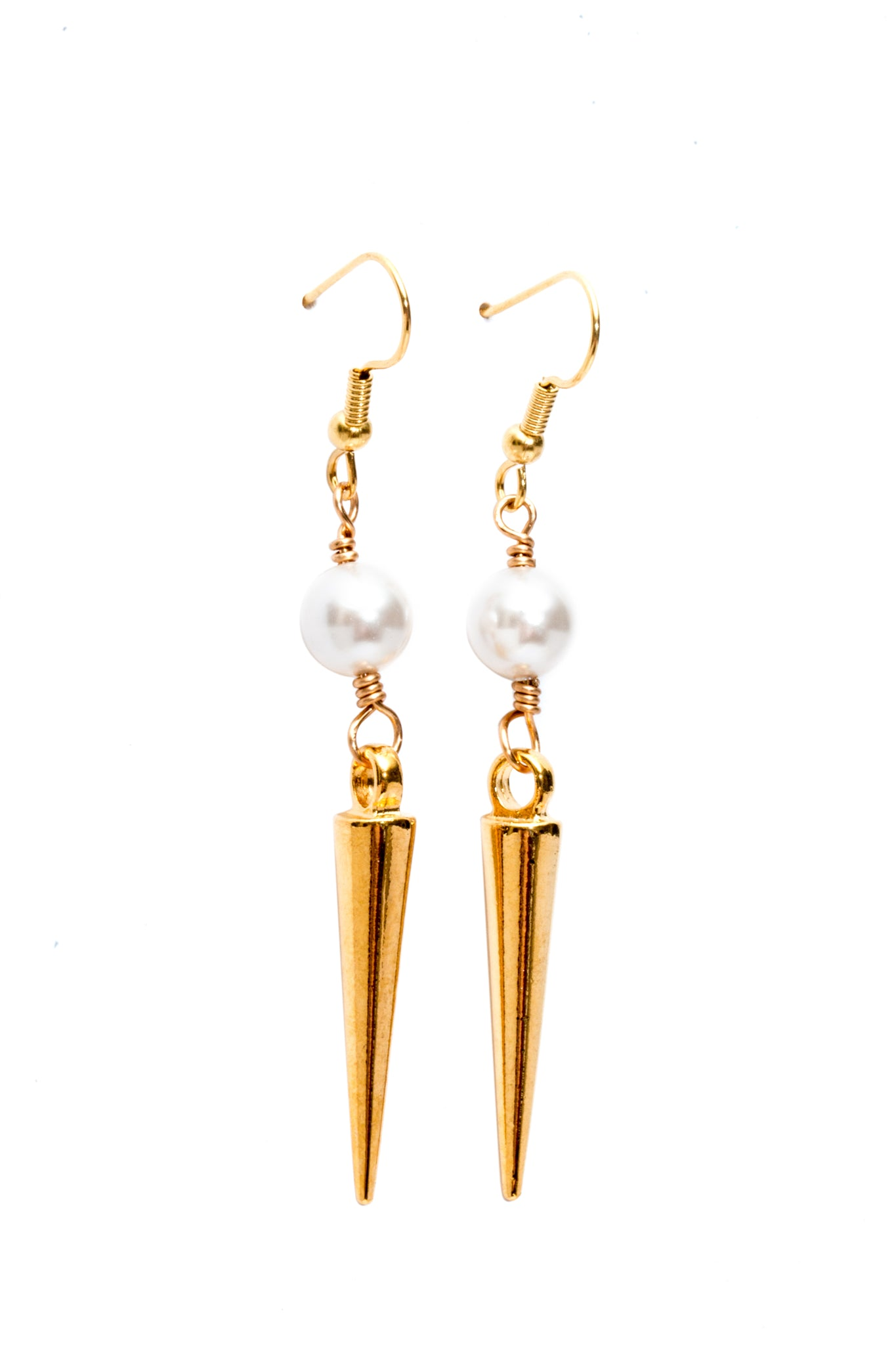 Gold Stone Dagger Earrings