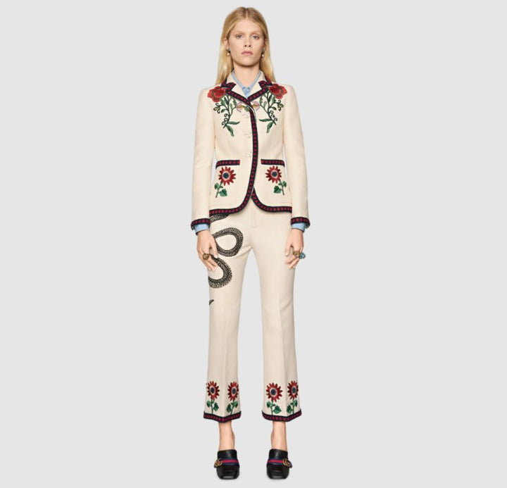 GUCCI White Embroidered Cotton Jacket