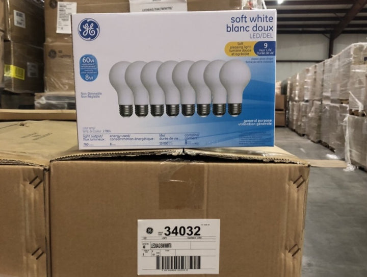 GE Soft White Pleasing Light Bulbs 34032 (8-pack) - 144 packs/pallet